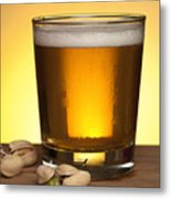 Beer In Glass Metal Print