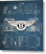 Bentley - 3 D Badge Over 1930 Bentley 4.5 Liter Blower Vintage Blueprint Metal Print