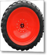 Big Tractor Tire Isolated On White Metal Print