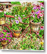 Bike Blossoms Metal Print