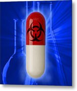 Biohazard Symbol On Capsule Metal Print