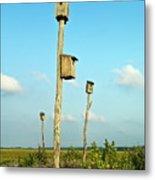 Birdhouses In Salt Marsh. Metal Print