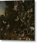 Birds Butterflies And A Frog Among Plants And Fungi Metal Print