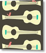 Birds On Guitar Strings Metal Print by Jazzberry Blue