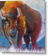 Bison Moon Metal Print