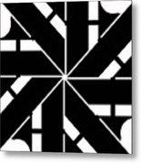 Black And White Geometric Metal Print
