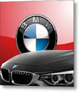 Black B M W - Front Grill Ornament And 3 D Badge On Red Metal Print by Serge Averbukh