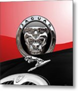 Black Jaguar - Hood Ornaments And 3 D Badge On Red Metal Print by Serge Averbukh