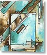 Blue Bonnet Original Abstract Pop Art Style Acrylic Painting By Madart Metal Print