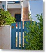 Blue Gate In Greece Metal Print