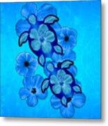 Blue Hibiscus And Honu Turtles Metal Print