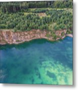 Blue Laggon See From Above In Old Sand Mine In Poland. Metal Print