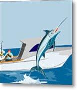 Blue Marlin Jumping Metal Print