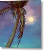 Blue Night Palm Metal Print