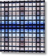 Blue Toned Glass Brick Window Abstract  Metal Print