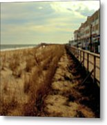 Boardwalk In Winter Metal Print