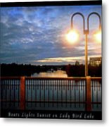 Boat, Lights, Sunset On Lady Bird Lake Metal Print