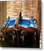 Boat On Canal In Venice Metal Print