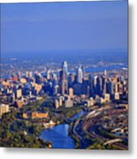 1 Boathouse Row Philadelphia Pa Skyline Aerial Photograph Metal Print