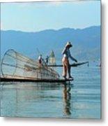 Boatmen On Inle Lake  Metal Print