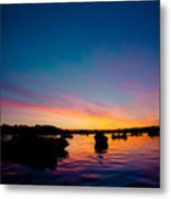 Boats And Sunrise Above Lake Water Summer Time Latvia Ezera Skanas Metal Print
