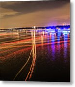 Boats Light Trails On Lake Wylie After 4th Of July Fireworks Metal Print