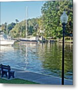 Boats On The Kalamazoo River In Saugatuck, Michigan Metal Print