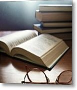 Books And Glasses Metal Print