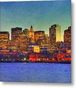 Boston Skyline Sunset Metal Print by Joann Vitali