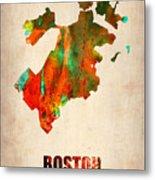Boston Watercolor Map  Metal Print