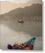 Bouquet Of Flowers In Bow Of Boat Dal Metal Print