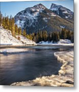Bow River With Mountain View Banf National Park Metal Print