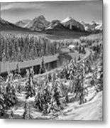 Bow Valley River View Black And White Metal Print