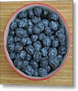 Bowl Of Fresh Blueberries Metal Print