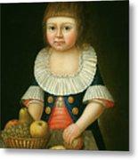 Boy With A Basket Of Fruit Metal Print