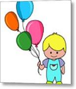 Boy With Balloons Metal Print