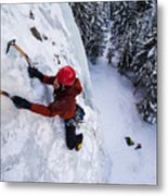 Brandon Prince Climbing Genesis I Area In Hyalite Canyon  Metal Print