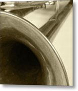 Brass Trumpet Bell And Tubing Metal Print