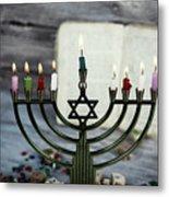 Brightly Glowing Hanukkah Menorah - Shallow Depth Of Field Metal Print