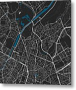 Brussels City Map Black Colour Metal Print