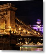 Budapest City By Night Metal Print