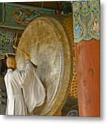Buddhist Monk Drumming Metal Print