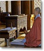 Buddhist Monk In Prayer Metal Print