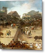 Bullfight In A Divided Ring Metal Print