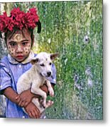 Burmese Girl With Puppy Metal Print