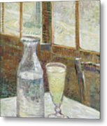 Cafe Table With Absinthe Metal Print