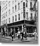 caffe napoli on the corner of mulberry street and hester st  little italy New York City USA Metal Print