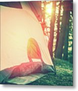 Camping In The Forest Metal Print