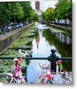 Canal And Decorated Bike In The Hague Metal Print