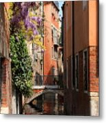 Canal In Venice With Flowers  Metal Print